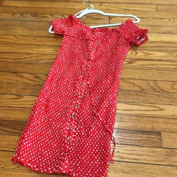 LF Dresses & Skirts - LF polka dot red dress runs big.